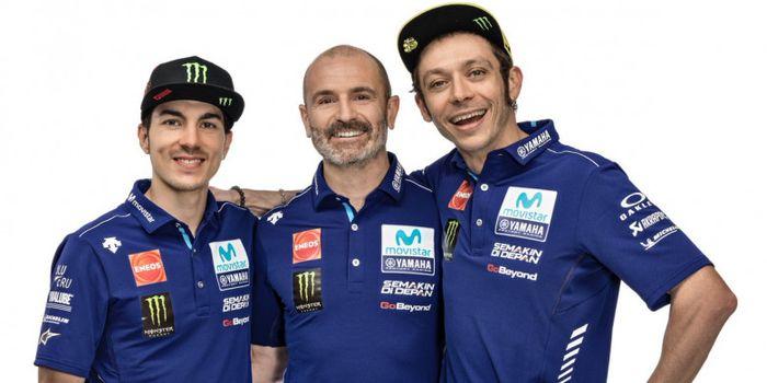 (dari ki-ka) Maverick Vinales, Massimo Meregalli, dan Valentino Rossi.