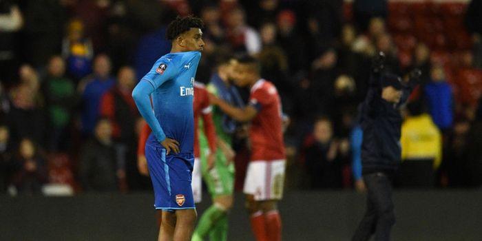 Reaksi pemain Arsenal, Alex Iwobi, seusai laga ronde ketiga Piala FA kontra Nottingham Forest di Sta