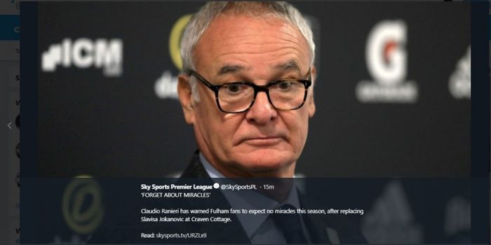 Pelatih anyar Fulham, Claudio Ranieri, saat diperkenalkan pada 14 November 2018.