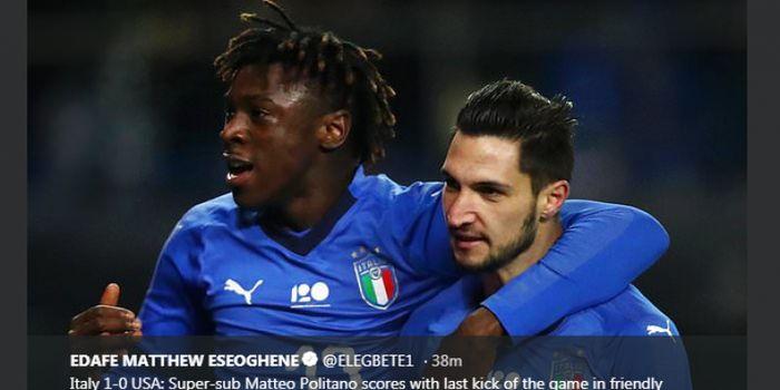 Matteo Politano (kanan) merayakan golnya untuk timnas Italia ke gawang Amerika Serikat bersama Moise Kean.