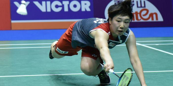 Pebulu tangkis tunggal putri Jepang, Akane Yamaguchi, saat menjalani laga melawan pemain tuan rumah,