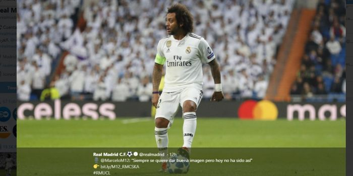 Bek sayap Real Madrid, Marcelo Vieira, mengontrol bola dalam laga Liga Champions melawan CSKA Moskva