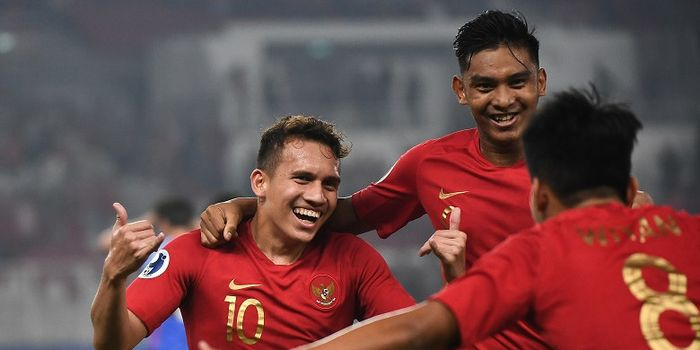 Pemain timnas U-19 Indonesia, Egy Maulana Vikri, melakukan selebrasi seusai mencetak gol ke ga