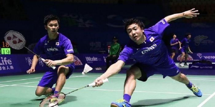 Pasangan ganda putra Jepang, Hiroyuki Endo/Yuta Wattanabe.