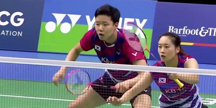 Pasangan ganda campuran Korea Selatan, Seo Seung-jae/Chae Yujung, saat menjalani laga pada turnamen