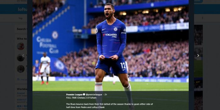 Gelandang Chelsea, Ruben Loftus-Cheek, merayakan golnya dalam laga Liga Inggris pekan ke-14 melawan
