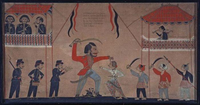 Lukisan karya Tirto dari Gresik (1890-an), yang menggambarkan terbunuhnya Kapten Tack.