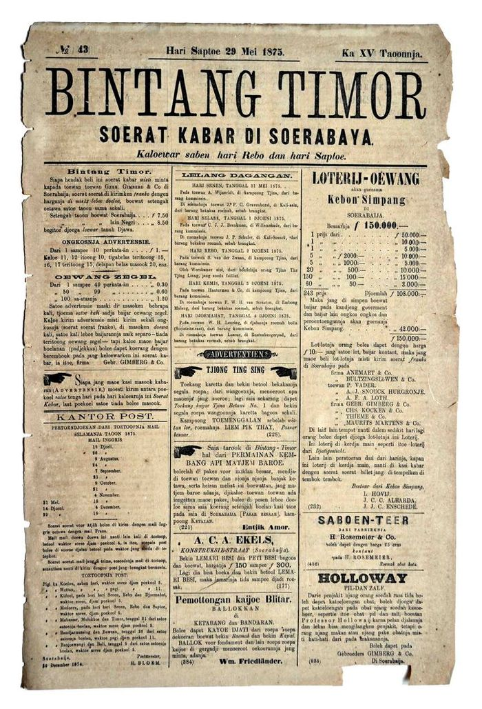 "Surat kabar ""Bintang Timor"" diterbitkan pertama kali oleh Gebroeders Gimberg & Co. pada 1862 di Surabaya."
