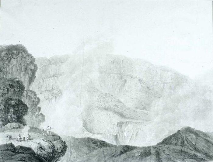 Pemandangan kawah Gunung Gedeh yang dilukis oleh Adrianus Johannes Bik (1790-1872). Lukisan ini dibuat pada 1828. Dua tahun berikutnya Bik melukis Dipanagara tatkala pangeran itu menanti keberangkatannya ke Manado sebagai tawanan.