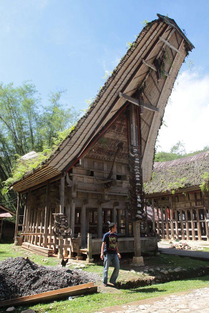 Salah satu rumah adat di Tongkonan Kete' Kesu, Toraja, Sulawesi Selatan. Terdapat enam rumah adat, masing-masing memiliki fungsi dan kedudukan dalam sistem sosial masyarakat Toraja. Banyaknya tanduk kerbau melambangkan lencana atau status sosial dalam masyarakat.