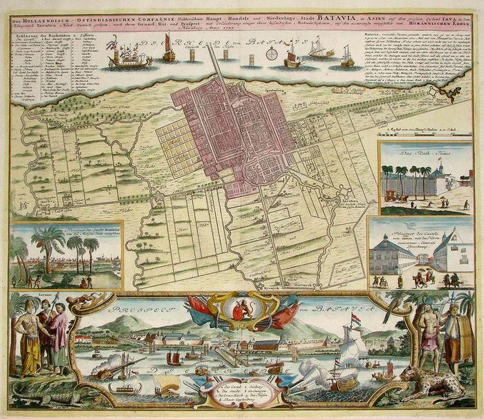 Peta Kota Batavia yang diterbitkan oleh Homannischen Erben pada 1733. Tangerang berada di kawasan paling barat pada peta ini.