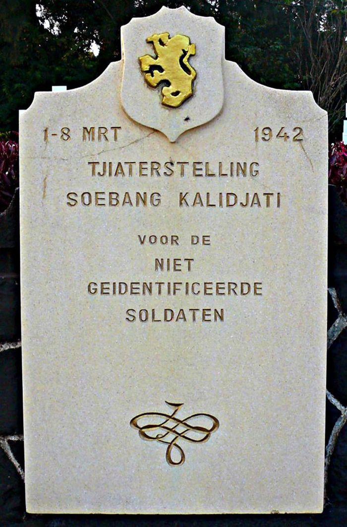 Monumen Tjiaterstelling-Soebang-Kalidjati di Ereveld Pandu, Bandung. Penanda zaman ketika Hindia Belanda takluk kepada Jepang.