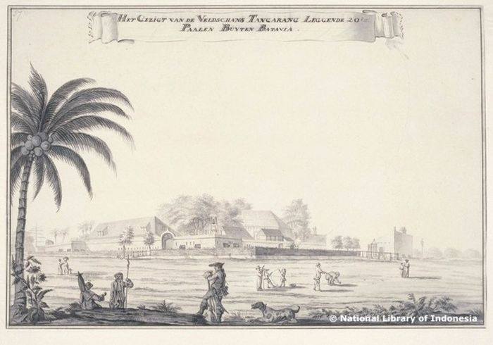 Pemandangan Fort Tangerang atau dikenal juga sebagai Benteng Makassar. Dilukis oleh Johannes Rach, seniman asal Denmark yang bertugas di VOC.