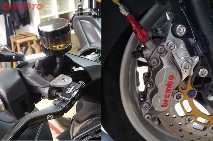 Kombinasi master rem radial dan kaliper axial