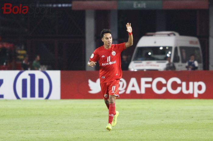 Pemain Persija Jakarta, Novri Setiawan merayakan gol yang dicetaknya, pada laga Piala AFC 2019 kontra Shan United di Stadion Utama Gelora Bung Karno, Rabu (15/5/2019).