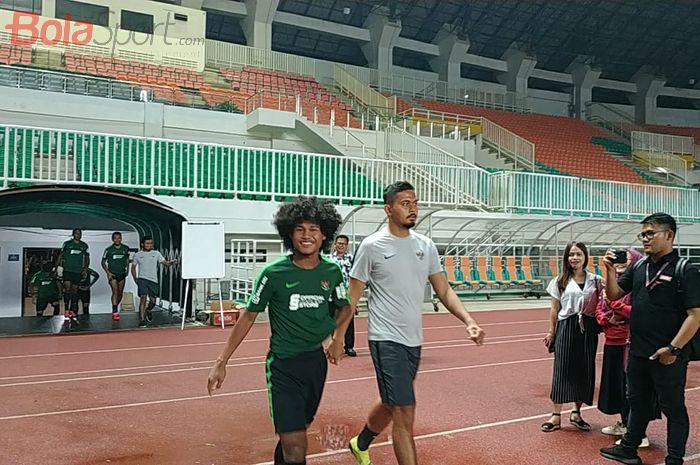 Amiruddin Bagus Kahfi pada pemusatan latihan timnas Indonesia di Stadion Pakansari, Kabupaten Bogor, Kamis (22/8/2019).