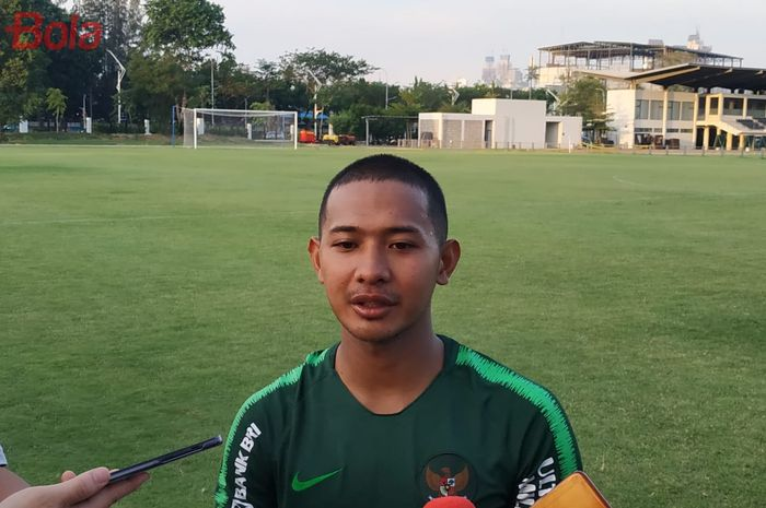 Gian Zola di Lapangan G, Senayan, Jakarta, Senin (21/10/2019).