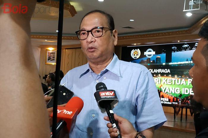 Calon Ketua Umum PSSI, Rahim Soekasah di Aula Kemenpora, Jakarta, Rabu (30/10/2019).