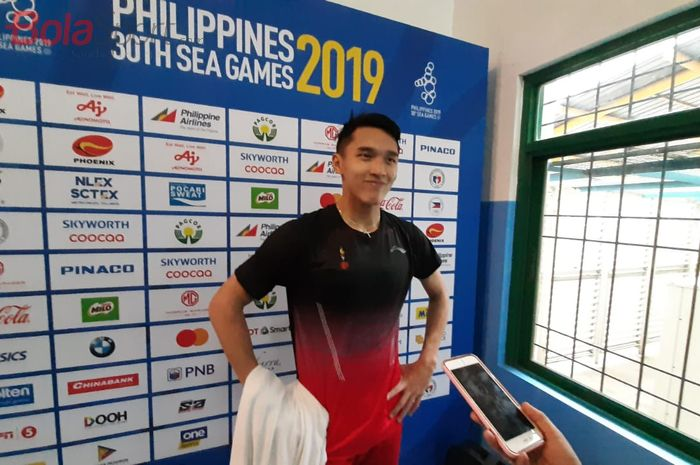 Pebulu tangkis tunggal putra Indonesia, Jonatan Chrustie, di Muntinlupa Sports Center, Manila, Filipina, Senin (1/12/2019).