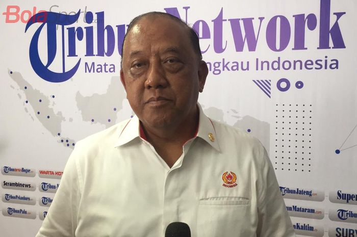 Ketua Umum Komite Olahraga Nasional Indonesia (KONI), Marciano Norman, dalam kunjungannya ke Kantor Tribun Network, Jakarta Barat, Rabu (20/1/2021).