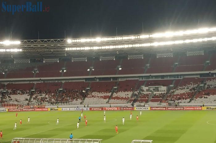 Laga Persija Jakarta kontra Shan United pada matchday terakhir Piala AFC 2019 di Stadion Utama Gelora Bung Karno, sepi penonton, Rabu (15/5/2019).