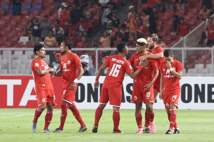 Skuat Persija Jakarta merayakan gol yang dicetak Bruno Matos, pada laga Piala AFC 2019 kontra Shan United di Stadion Utama Gelora Bung Karno, Rabu (15/5/2019).