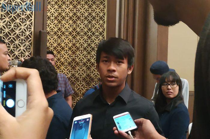 Pemain Garuda Select, Supriadi, di Hotel Sultan, Jakarta, Jumat (17/5/2019).
