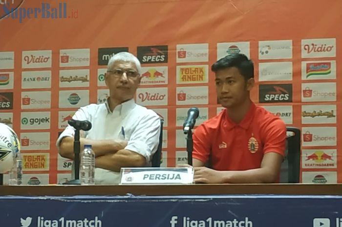 Pelatih dan pemain Persija Jakartak, Edson Tavares serta resky Fandi saat memberikan keterangan pers seusai laga kontra Persipura, Kamis (28/11/2019).