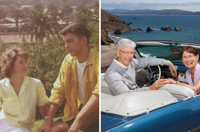 Janice dan Prentiss semasa kuliah (kiri) dan 50 tahun kemudian bertemu kembali (kanan)