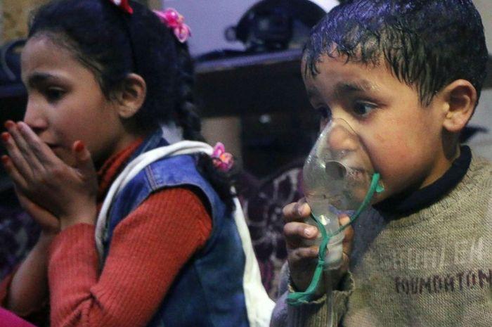 Anak-anak Suriah korban senjata kimia