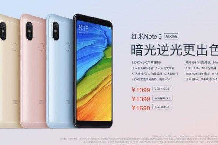 Redmi Note 5 AI resmi rilis di indonesia