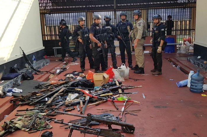 Suasana rumah tahanan di Mako Brimob, Kelapa Dua, Jakarta, Kamis (10/5/2018) setelah berhasil dikuas