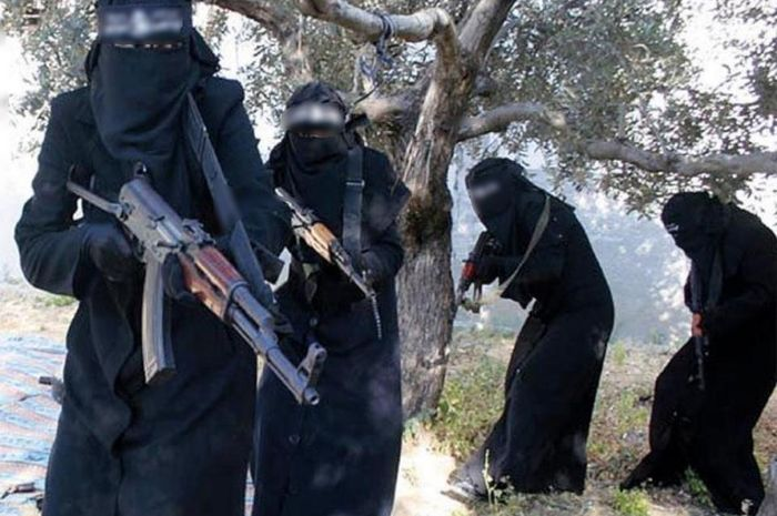 Ilustrasi batalion janda hitam ISIS.
