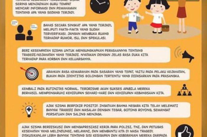 Info grafis peran sekolah menghadapi bahaya terorisme yang diberikan Kemendikbud.(Dok. Kemdikbud)
