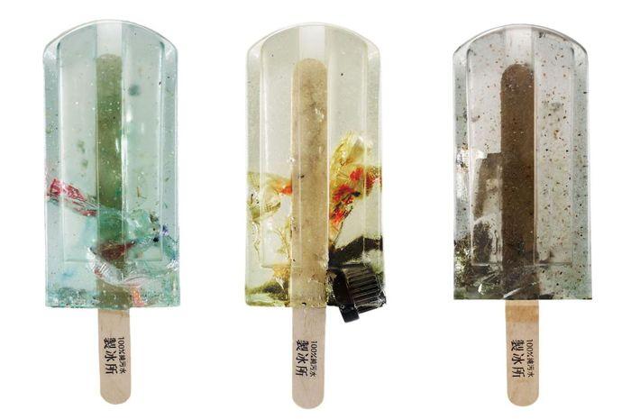 Sampel air dari berbagai lokasi di Taiwan yang dibekukan menjadi es loli.