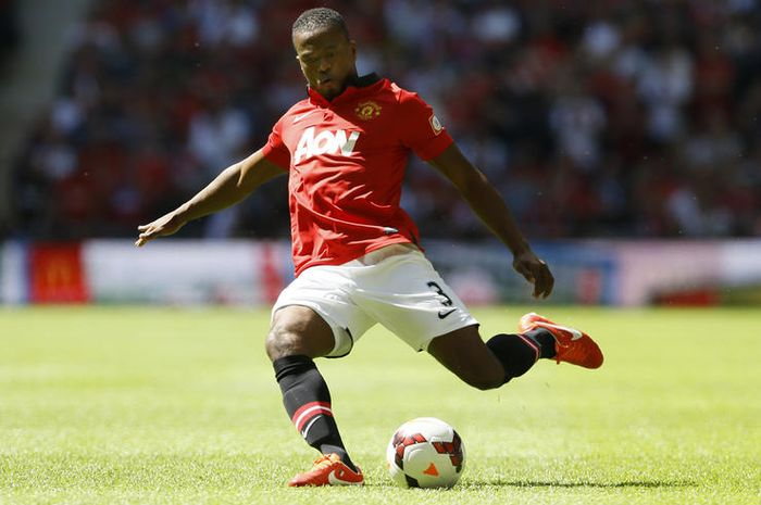 Manchester United's Patrice Evra controls the ball during their English FA Community Shield soccer m
