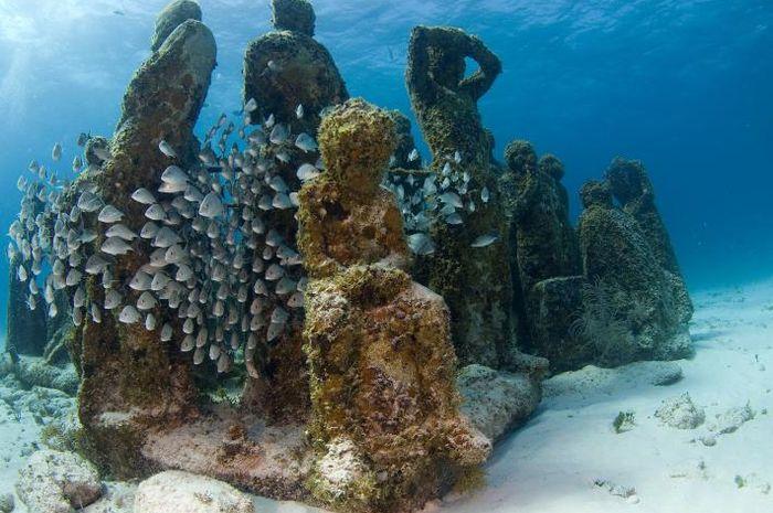 Museum bawah laut Cancun. Museum serupa juga dibangun di Amerika Serikat.