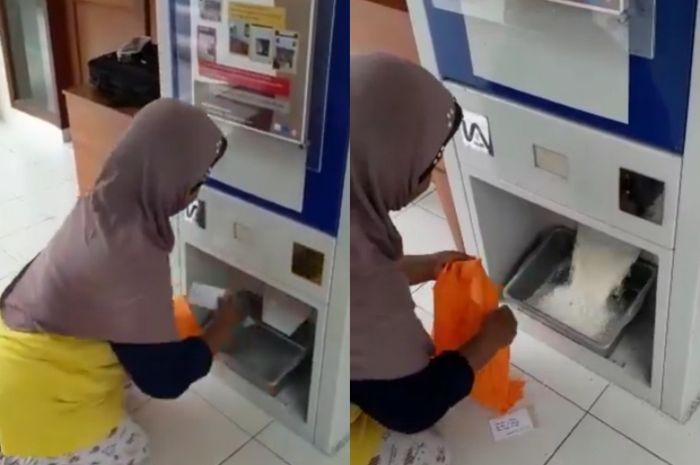 Dalam sebuah video yang beredar di media sosial terdapat sebuah ATM unik yang bisa mengeluarkan beras.