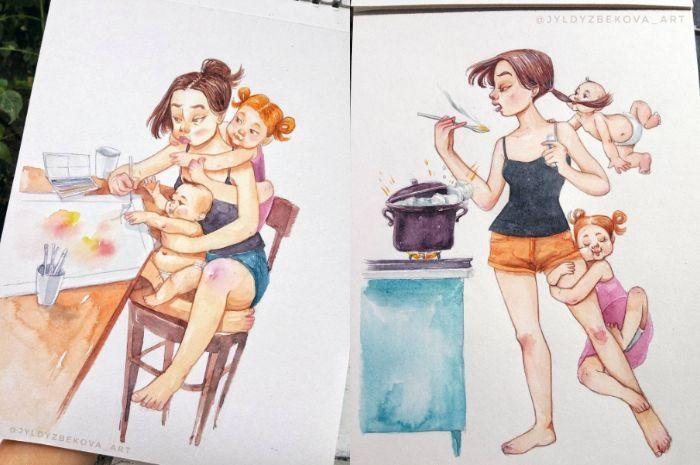 Menjadi ibu enggak gampang, lukisan lucu dan kreatif seorang seniman ini menjadi buktinya.
