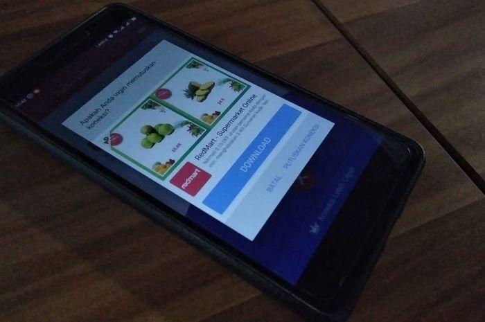 Ponsel yang muncul iklan secara pop-up
