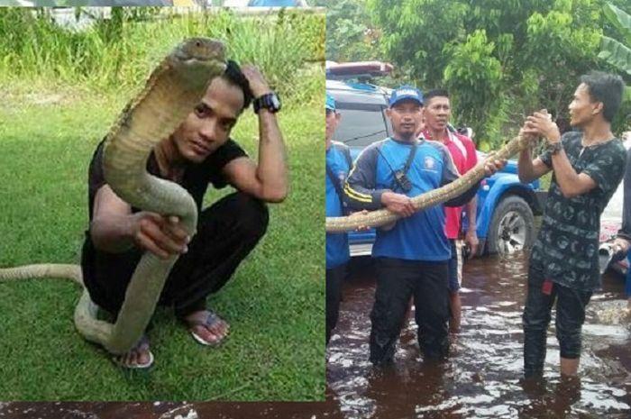 Rizky (kiri) dan ular King Kobra yang telah ditangkap oleh warga.
