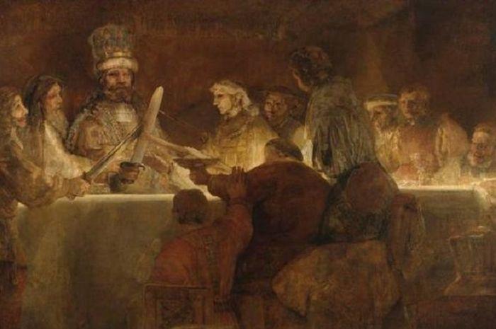 Konspirasi suku Batavi di bawah pimpinan Claudius (1661-1662) lukisan oleh Rembrandt.