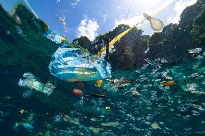 Sampah plastik mengapung di lautan