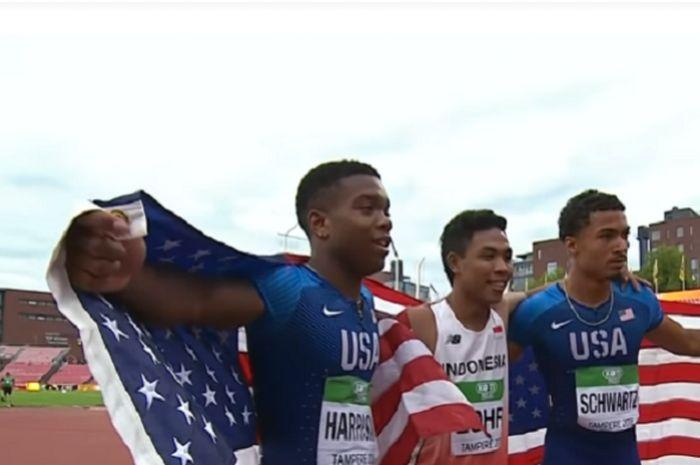 Lalu dan dua pelari dari Amerika Serikat.