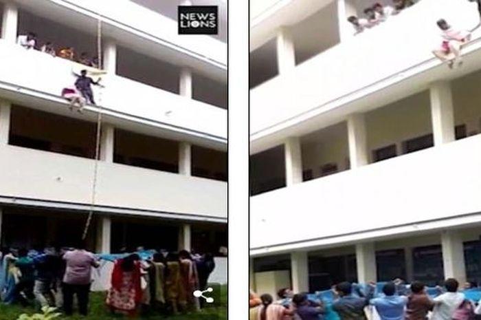 Lokeshwari didorong oleh pelatihnya agar terjun ke bawah.