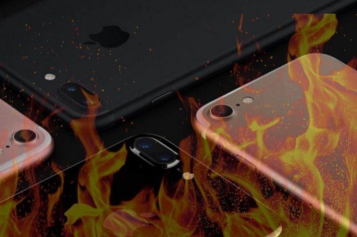 ilustrasi iPhone terbakar