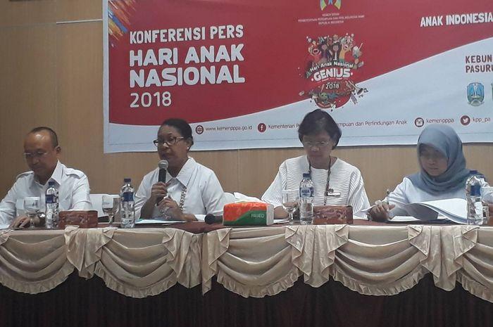 Konferensi pers Hari Anak Nasional 2018 dihadiri oleh Menteri PPPA
