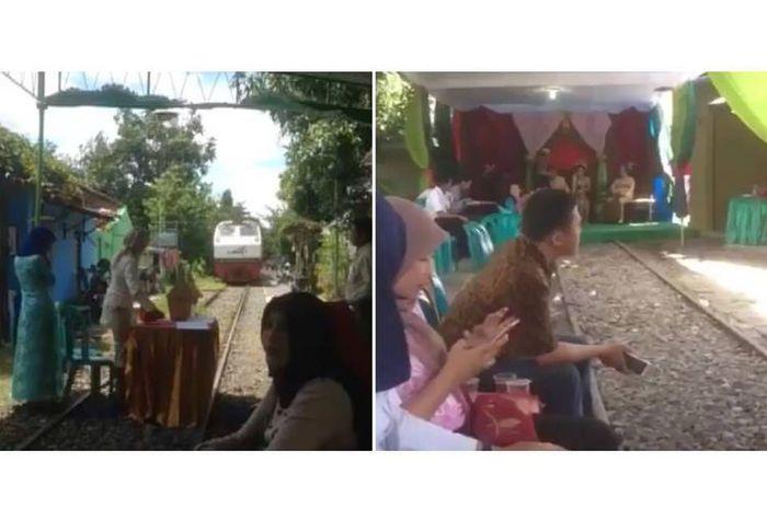 Video viral pesta pernikahan di atas rel kereta api.
