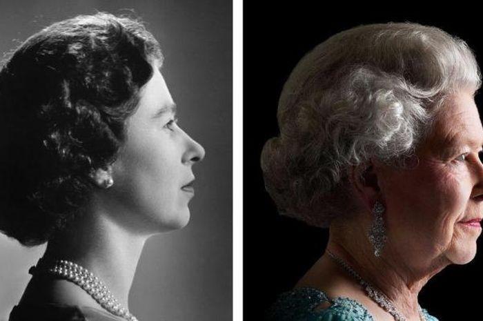 Ratu Elizabeth II, dulu dan sekarang.