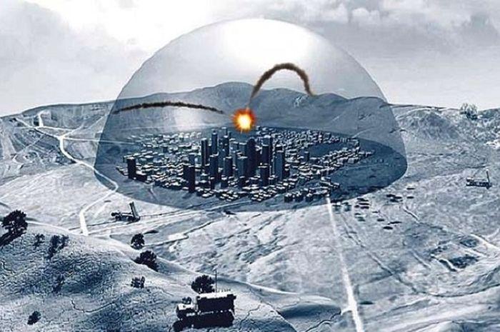 Ilustrasi Iron Dome Israel.